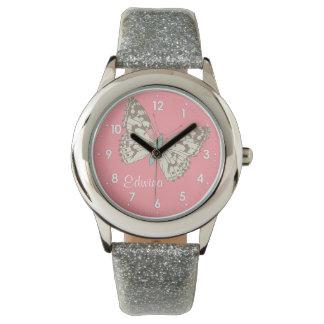 Reloj conocido numerado señora pintado mariposa de