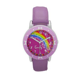 Reloj conocido púrpura del arco iris de los chicas