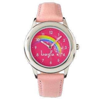 Reloj conocido rosado rojo del arco iris de los