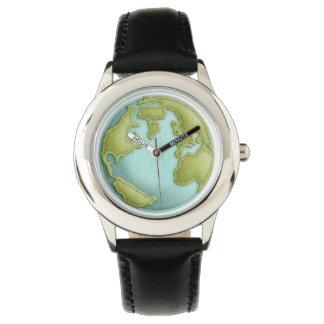 Reloj cosido 3D del modelo de la tierra