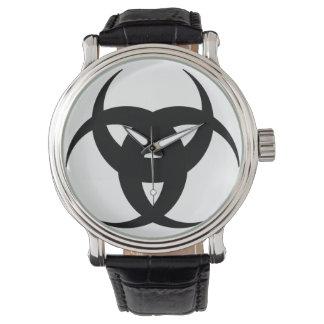 reloj cresent triple negro de la correa del