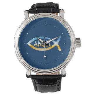 Reloj cristiano del ÁNGEL del símbolo de los