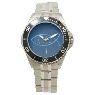 Reloj cristiano del símbolo de los pescados