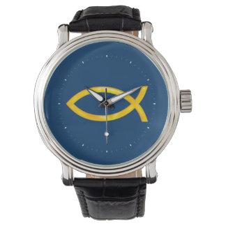 Reloj cristiano elegante del símbolo de los