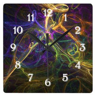 Reloj cuadrado abstracto colorido