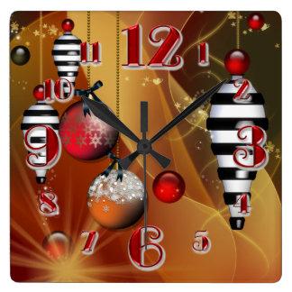 Reloj cuadrado de la chuchería del navidad