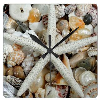 Reloj cuadrado de las estrellas de mar y de pared