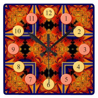 Reloj cuadrado de los fractales llameantes