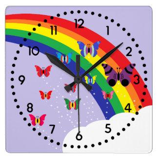 Reloj cuadrado del arco iris y de pared de las
