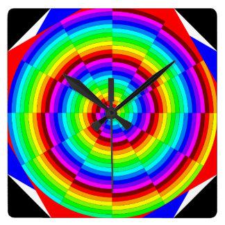Reloj cuadrado espiral del arco iris