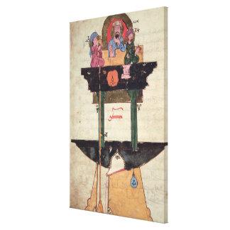 Reloj de agua con las figuras automatizadas impresiones de lienzo