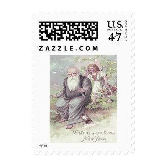 Reloj de arena de la cesta del ángel de la querube sello postal