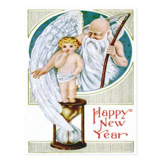 Reloj de arena del Año Nuevo del bebé del tiempo Postales