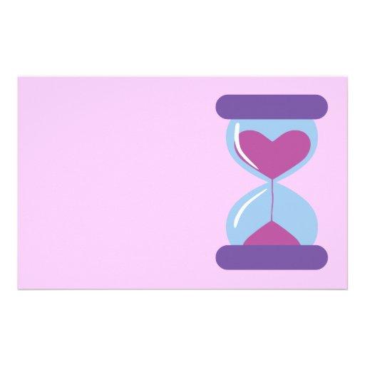 Reloj de arena del corazón papeleria personalizada