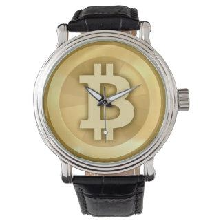 Reloj de Bitcoin de la correa de cuero del vintage