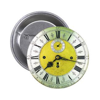 Reloj de bolsillo antiguo del reloj pin redondo de 2 pulgadas