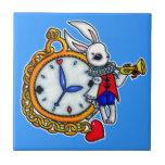 Reloj de bolsillo blanco del conejo azulejos ceramicos