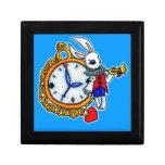 Reloj de bolsillo blanco del conejo cajas de recuerdo