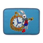 Reloj de bolsillo blanco del conejo fundas para macbook air