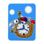 Reloj de bolsillo blanco del conejo imán