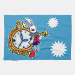 Reloj de bolsillo blanco del conejo toalla de cocina