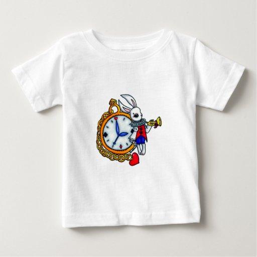 Reloj de bolsillo blanco del conejo playera de bebé