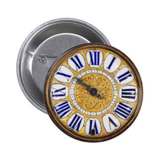 Reloj de bolsillo de la antigüedad del reloj del pin redondo de 2 pulgadas