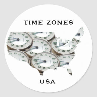 Reloj de bolsillo de la zona horaria pegatina redonda