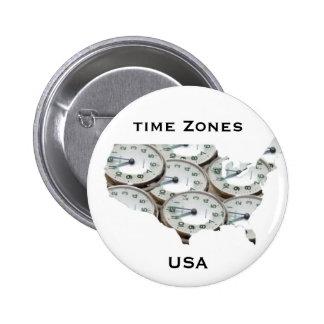 Reloj de bolsillo de la zona horaria pin redondo de 2 pulgadas