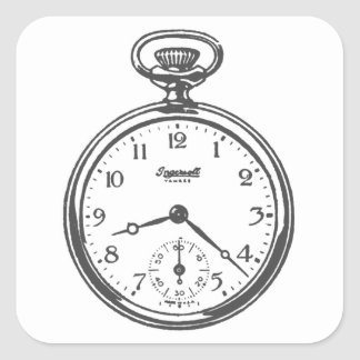 Reloj de bolsillo de Steampunk Pegatina Cuadrada