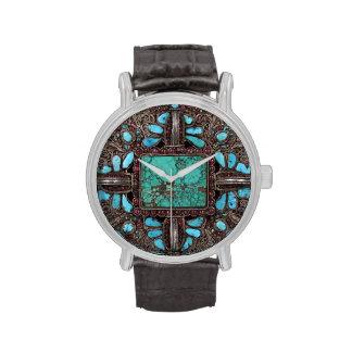 Reloj de Brown de la turquesa que ofrece el Nepali