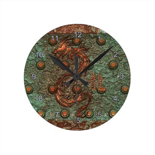 Reloj de cobre asiático del arte de la fantasía de