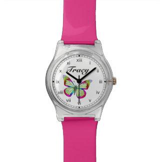 Reloj de cuero rosado de los niños