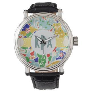Reloj de encargo abstracto multicolor del