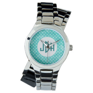 Reloj de encargo blanco del monograma de la
