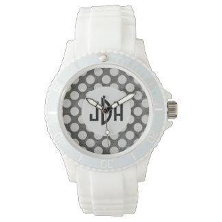 Reloj de encargo blanco negro del deporte del