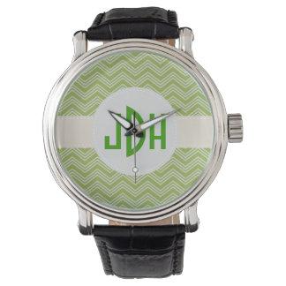 Reloj de encargo blanco verde del monograma de