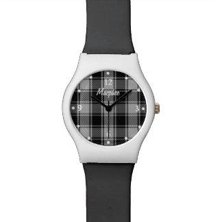 Reloj de encargo blanco y negro de la tela escoces