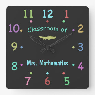 Reloj de encargo coloreado del profesor de la tiza