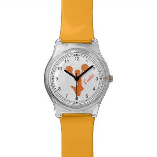 Reloj de encargo de la animadora anaranjada