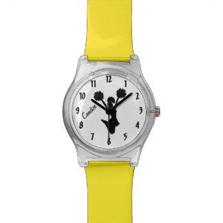 Reloj de encargo de la animadora negra y amarilla