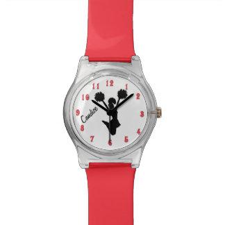Reloj de encargo de la animadora roja y negra