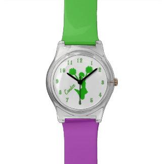 Reloj de encargo de la animadora verde