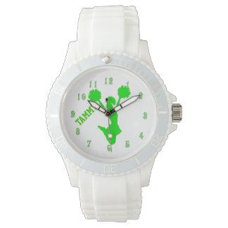 Reloj de encargo de la animadora verde clara