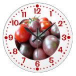 Reloj de encargo de la cocina de los tomates de ce