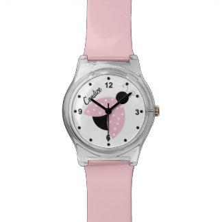 Reloj de encargo de la mariquita rosada