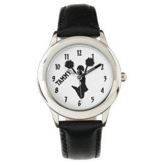 Reloj de encargo de la silueta de la animadora del