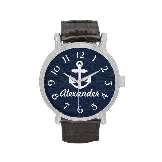 Reloj de encargo del azul marino/blanca del ancla
