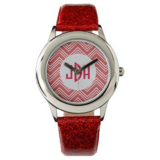 Reloj de encargo del monograma del modelo rojo de