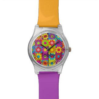 Reloj de encargo del nombre de bloque del color de